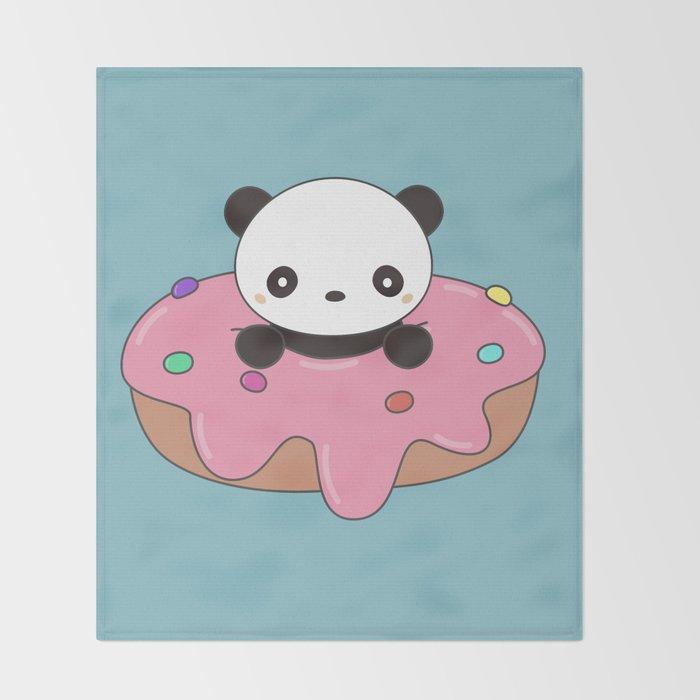 Kawaii Cute Panda Donut Throw Blanket By Wordsberry Society40 Mesmerizing Kawaii Throw Blanket