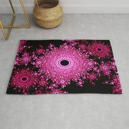 Floral Mosaic Mandala Pink & Black Rug
