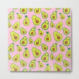 Pretty Pink Avocado Pattern   Metal Print