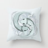 pisces Throw Pillows featuring Pisces by Vibeke Koehler