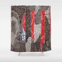 fight Shower Curtains featuring Fight by Jen Bennett
