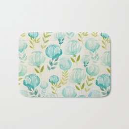 Vintage Aqua Blossoms Bath Mat