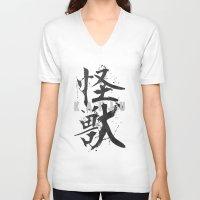 kaiju V-neck T-shirts featuring KAIJU by Mikio Murakami