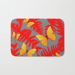 Red Fern Fronds With Yellow Butterflies & Grey Color Bath Mat