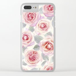 Mauve and Cream Painted Roses Clear iPhone Case