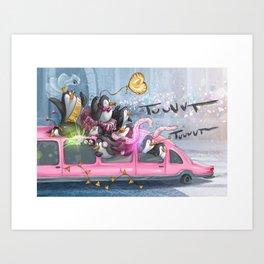 Animals and vehicles, Penguin Art Print