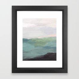 Seafoam Green Mint Black Blush Pink Abstract Nature Land Art Painting Art Print II Framed Art Print