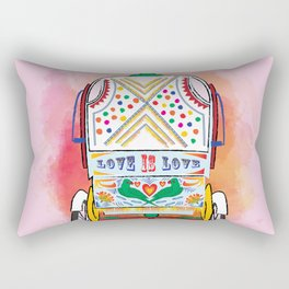 Indian Rickshaw Art 'Love is Love' Rectangular Pillow
