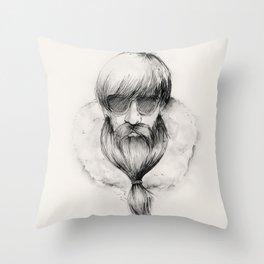 homeless hipster Throw Pillow