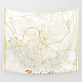 Nashville Map Gold Wall Tapestry
