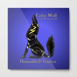 Celtic Zodiac Wolf Metal Print