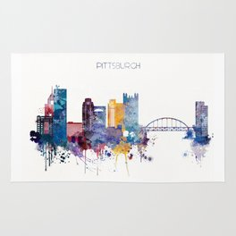 Watercolor cityscape of Pittsburgh Rug