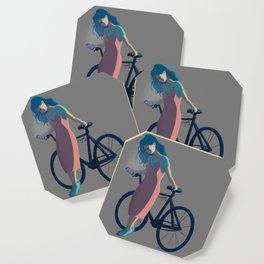 Bicycle Blue Hair Girl Coaster
