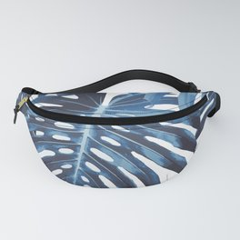 Blue monstera leaves Fanny Pack