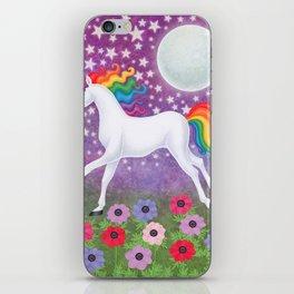wanderlust (rainbow unicorn), moon and stars, anemone iPhone Skin