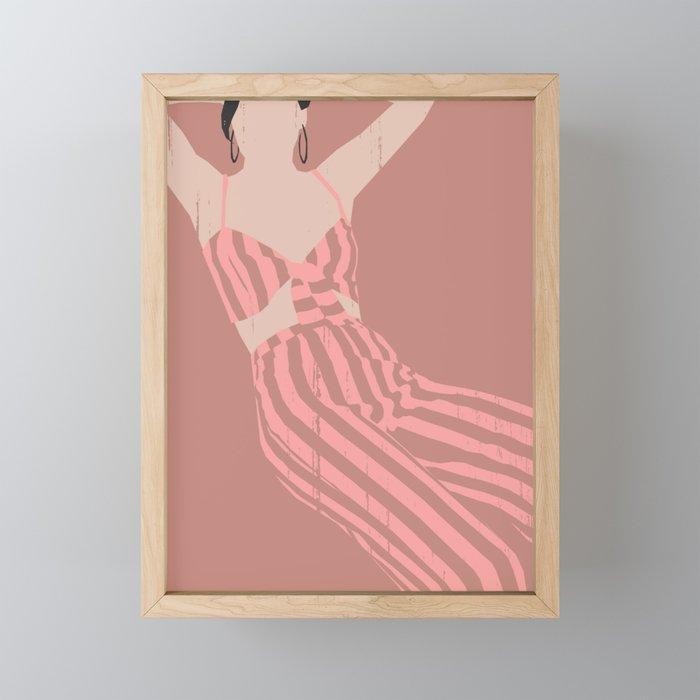 WOMAN IN STRIPES Framed Mini Art Print