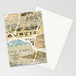 Austin map Stationery Cards