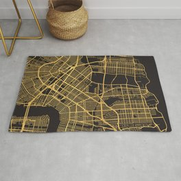 NEW ORLEANS LOUISIANA GOLD ON BLACK CITY MAP Rug