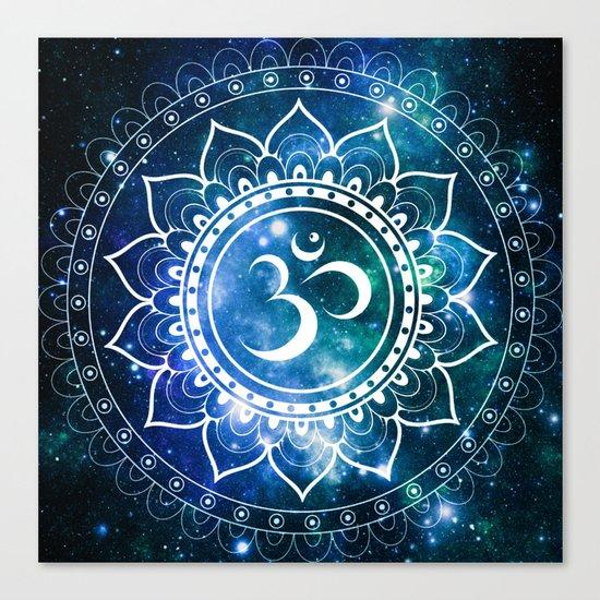 Om Mandala : Blue Green Galaxy Canvas Print