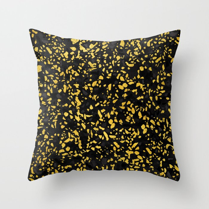 Terrazzo Memphis Black Grey Gold Throw Pillow By Sylvaincombe Society6