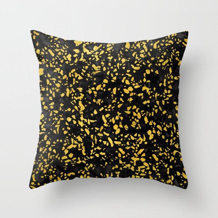Terrazzo Memphis black grey gold Throw Pillow