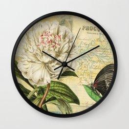 Victorian Peony & Ephemera Art Print - Vintage Rose Collage Wall Art Wall Clock