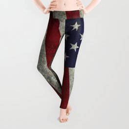 American Flag, Old Glory in dark worn grunge Leggings
