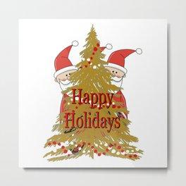 Happy Holidays Secret Santa with Christmas tree Metal Print