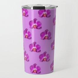 Purple Butterfly Orchids Patterns Golden Art Travel Mug