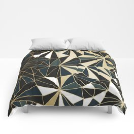 New Art Deco Geometric Pattern - Emerald green and Gold Comforters