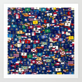 Flags of all US states Art Print