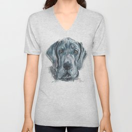 Baden // Blue Great Dane Unisex V-Neck
