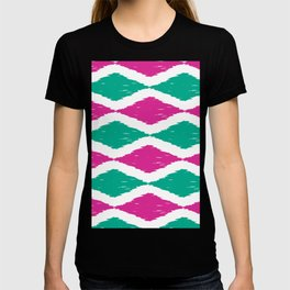 Summer Jumbo Zoom Scale Ikat Print in Magenta and Turquoise T-shirt