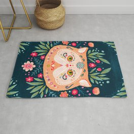 Candied Sugar Skull Kitty Rug