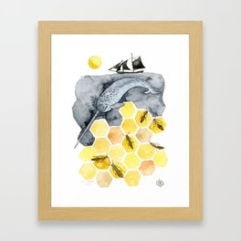 Narwal & Honey Bees Framed Art Print