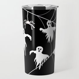 White Ghosts spider web Black background Travel Mug