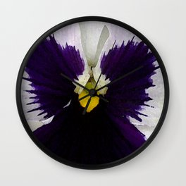 Watercolor of a white and purple pansy  Wall Clock