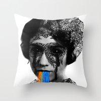sylvia plath Throw Pillows featuring Sylvia II by DIVIDUS