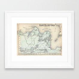 Vintage Map of East Hampton New York (1873) Framed Art Print