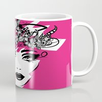 fashion illustration Mugs featuring fashion illustration by Irmak Akcadogan