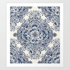 Floral Diamond Doodle in Dark Blue and Cream Art Print