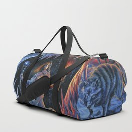 Two of Wands - Woman & Wolves Duffle Bag