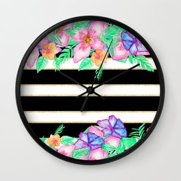 Stylish black white gold stripes floral monogram  Wall Clock