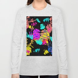 Colorful shapes on a black background Long Sleeve T-shirt