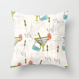 Mid Century Modern Cocktail Hour Throw Pillow