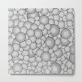 Chaotic Circles - Geometric Pattern (White) Metal Print