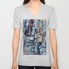 red yellow blue pink drawing and painting abstract background Unisex V-Neck
