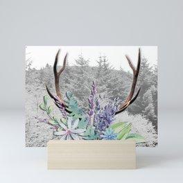 Floral Stag antlers b/w Mini Art Print