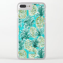 AQUA PINEAPPLE O'CLOCK Tropical Hawaiian Watercolor Clear iPhone Case