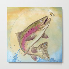 End Of The Line // Rainbow Trout Jumping Out Of Splashing Water // With Lure at Sunset // Fish On! Metal Print